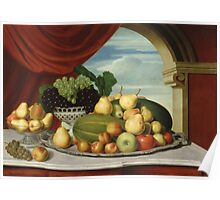 John Vanderlyn - Still Life Fruit In A Classical Setting 1858. Still life with fruits and vegetables: fruit, vegetable, grapes, tasty, gastronomy food, flowers, dish, cooking, kitchen, vase Poster
