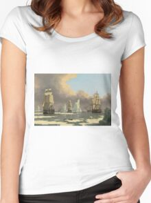 John Ward I - The Northern Whale Fishery The Swan And Isabella . Marine landscape: ship portraits, yachts, yachting ship, waves, marine naval navy, seascape, sun and clouds, nautical panorama, ocean Women's Fitted Scoop T-Shirt