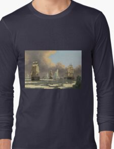 John Ward I - The Northern Whale Fishery The Swan And Isabella . Marine landscape: ship portraits, yachts, yachting ship, waves, marine naval navy, seascape, sun and clouds, nautical panorama, ocean Long Sleeve T-Shirt