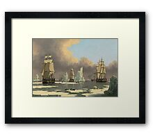 John Ward I - The Northern Whale Fishery The Swan And Isabella . Marine landscape: ship portraits, yachts, yachting ship, waves, marine naval navy, seascape, sun and clouds, nautical panorama, ocean Framed Print