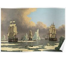 John Ward I - The Northern Whale Fishery The Swan And Isabella . Marine landscape: ship portraits, yachts, yachting ship, waves, marine naval navy, seascape, sun and clouds, nautical panorama, ocean Poster