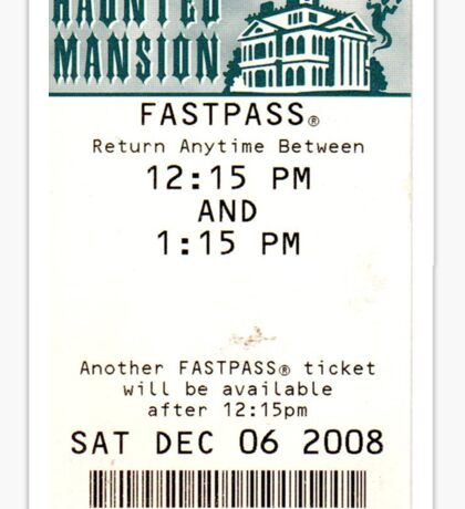 Haunted Mansion Fastpass Sticker