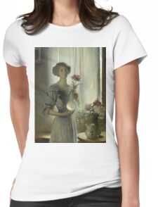 John White Alexander - June. Woman portrait: sensual woman, girly art, female style, pretty women, femine, beautiful dress, cute, creativity, love, sexy lady, erotic pose Womens Fitted T-Shirt