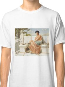 John William Godward - Reverie. Woman portrait: sensual woman, girly art, female style, pretty women, femine, beautiful dress, cute, creativity, love, sexy lady, erotic pose Classic T-Shirt