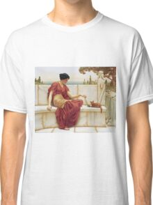 John William Godward - The Favourite. Woman portrait: sensual woman, girly art, female style, pretty women, femine, beautiful dress, cute, creativity, love, sexy lady, erotic pose Classic T-Shirt