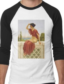 John William Godward - The Signal. Woman portrait: sensual woman, girly art, female style, pretty women, femine, beautiful dress, cute, creativity, love, sexy lady, erotic pose Men's Baseball ¾ T-Shirt