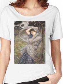 John William Waterhouse - Boreas . Woman portrait: sensual woman, girly art, female style, pretty women, femine, beautiful dress, cute, creativity, love, sexy lady, erotic pose Women's Relaxed Fit T-Shirt