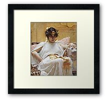 John William Waterhouse - Cleopatra . Woman portrait: sensual woman, girly art, female style, pretty women, femine, beautiful dress, cute, creativity, love, sexy lady, erotic pose Framed Print