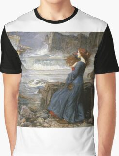 John William Waterhouse - Miranda - The Tempest  . Sea landscape: sea view, naval yachts, navy holiday, sailing boat, coast seaside, beach, marin, seascape, sun clouds, nautical panorama, ocean Graphic T-Shirt
