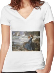 John William Waterhouse - Miranda - The Tempest  . Sea landscape: sea view, naval yachts, navy holiday, sailing boat, coast seaside, beach, marin, seascape, sun clouds, nautical panorama, ocean Women's Fitted V-Neck T-Shirt
