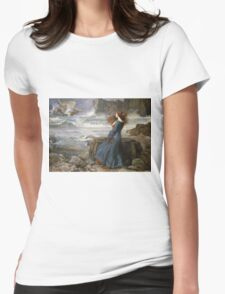 John William Waterhouse - Miranda - The Tempest  . Sea landscape: sea view, naval yachts, navy holiday, sailing boat, coast seaside, beach, marin, seascape, sun clouds, nautical panorama, ocean Womens Fitted T-Shirt