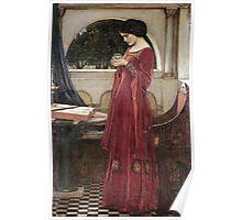 John William Waterhouse - The Crystal Ball . Woman portrait: sensual woman, girly art, female style, pretty women, femine, beautiful dress, cute, creativity, love, sexy lady, erotic pose Poster