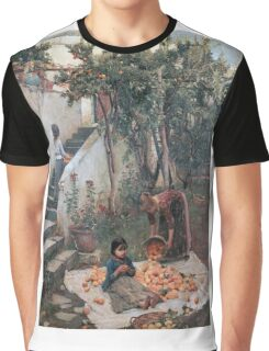 John William Waterhouse - The Orange Gatherers . Garden landscape: garden view, trees and flowers, blossom, nature, botanical park, floral flora, wonderful flowers, plants, cute plant, garden, flower Graphic T-Shirt