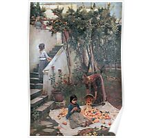 John William Waterhouse - The Orange Gatherers . Garden landscape: garden view, trees and flowers, blossom, nature, botanical park, floral flora, wonderful flowers, plants, cute plant, garden, flower Poster
