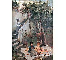 John William Waterhouse - The Orange Gatherers . Garden landscape: garden view, trees and flowers, blossom, nature, botanical park, floral flora, wonderful flowers, plants, cute plant, garden, flower Photographic Print