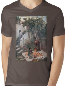 John William Waterhouse - The Orange Gatherers . Garden landscape: garden view, trees and flowers, blossom, nature, botanical park, floral flora, wonderful flowers, plants, cute plant, garden, flower Mens V-Neck T-Shirt