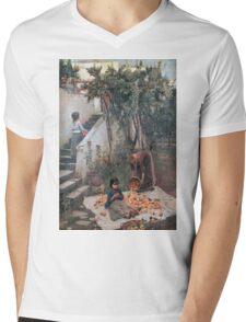 John William Waterhouse - The Orange Gatherers . Garden landscape: garden view, trees and flowers, blossom, nature, botanical park, floral flora, wonderful flowers, plants, cute plant, garden, flower Mens V-Neck T-Shirt