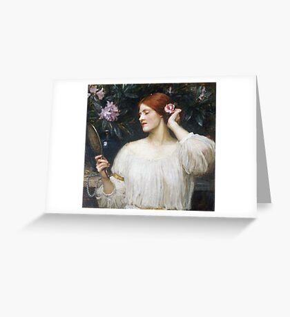 John William Waterhouse - Vanity.  Woman portrait: sensual woman, girly art, female style, pretty women, femine, beautiful dress Greeting Card