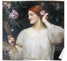 John William Waterhouse - Vanity.  Woman portrait: sensual woman, girly art, female style, pretty women, femine, beautiful dress Poster