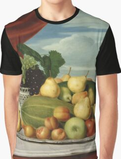 John Vanderlyn - Still Life Fruit In A Classical Setting 1858. Still life with fruits and vegetables: fruit, vegetable, grapes, tasty, gastronomy food, flowers, dish, cooking, kitchen, vase Graphic T-Shirt