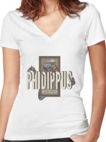 """Phidippus Mystaceus Jumping Spider """"Scrumpy"""" Tribute Women's Fitted V-Neck T-Shirt"""
