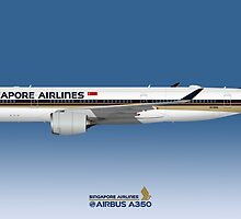 Illustration of Singapore Airlines Airbus A350 - Blue Version by © Steve H Clark