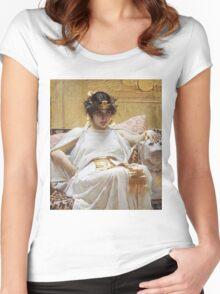 John William Waterhouse - Cleopatra . Woman portrait: sensual woman, girly art, female style, pretty women, femine, beautiful dress, cute, creativity, love, sexy lady, erotic pose Women's Fitted Scoop T-Shirt