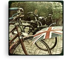Vintage Bicycles and Union Jacks flapping Canvas Print