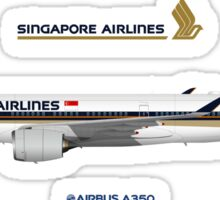 Illustration of Singapore Airlines Airbus A350 Sticker