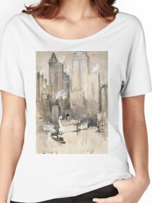 Joseph Pennell - Fruit Boat, Or New York City From Our Brooklyn Flat. Urban landscape:  New York view, streets, building,  New York, trees, cityscape, architecture, construction, buildings Women's Relaxed Fit T-Shirt
