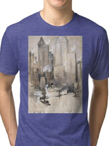 Joseph Pennell - Fruit Boat, Or New York City From Our Brooklyn Flat. Urban landscape:  New York view, streets, building,  New York, trees, cityscape, architecture, construction, buildings Tri-blend T-Shirt