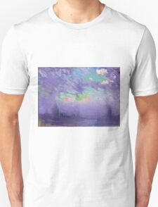 Joseph Pennell - Green, Blue And Purple (London View). Urban landscape: city view, streets, building, View Of London, trees, cityscape, architecture, construction, travel, panorama garden, buildings Unisex T-Shirt
