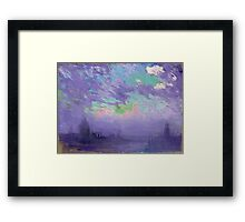 Joseph Pennell - Green, Blue And Purple (London View). Urban landscape: city view, streets, building, View Of London, trees, cityscape, architecture, construction, travel, panorama garden, buildings Framed Print