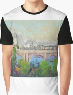 Joseph Pennell - London Over Waterloo Bridge. Urban landscape: city view, streets, building, London, trees, cityscape, architecture, construction, travel landmarks, panorama garden, buildings Graphic T-Shirt
