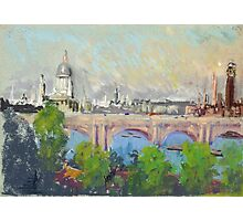 Joseph Pennell - London Over Waterloo Bridge. Urban landscape: city view, streets, building, London, trees, cityscape, architecture, construction, travel landmarks, panorama garden, buildings Photographic Print