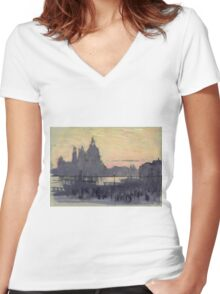 Joseph Pennell - The Gold Moon (Venice View Of Santa Maria Delle Salute From Il Redentore). Urban landscape: Venice view, streets, building, cityscape, architecture, construction, travel landmarks Women's Fitted V-Neck T-Shirt