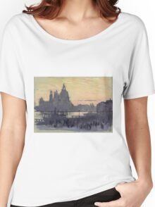 Joseph Pennell - The Gold Moon (Venice View Of Santa Maria Delle Salute From Il Redentore). Urban landscape: Venice view, streets, building, cityscape, architecture, construction, travel landmarks Women's Relaxed Fit T-Shirt
