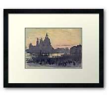 Joseph Pennell - The Gold Moon (Venice View Of Santa Maria Delle Salute From Il Redentore). Urban landscape: Venice view, streets, building, cityscape, architecture, construction, travel landmarks Framed Print
