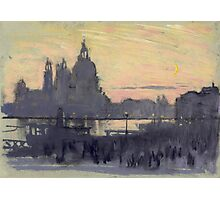 Joseph Pennell - The Gold Moon (Venice View Of Santa Maria Delle Salute From Il Redentore). Urban landscape: Venice view, streets, building, cityscape, architecture, construction, travel landmarks Photographic Print