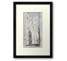 Joseph Pennell - The New York Stock Exchange. Urban landscape: city view, streets, building, house, trees, cityscape, architecture, construction, travel landmarks, panorama garden, buildings Framed Print