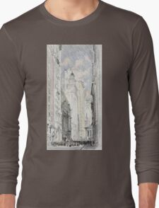 Joseph Pennell - The New York Stock Exchange. Urban landscape: city view, streets, building, house, trees, cityscape, architecture, construction, travel landmarks, panorama garden, buildings Long Sleeve T-Shirt