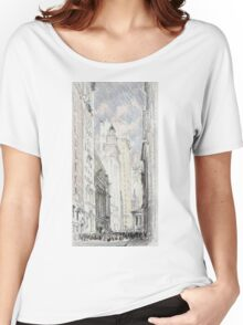 Joseph Pennell - The New York Stock Exchange. Urban landscape: city view, streets, building, house, trees, cityscape, architecture, construction, travel landmarks, panorama garden, buildings Women's Relaxed Fit T-Shirt