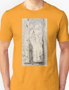 Joseph Pennell - The New York Stock Exchange. Urban landscape: city view, streets, building, house, trees, cityscape, architecture, construction, travel landmarks, panorama garden, buildings Unisex T-Shirt
