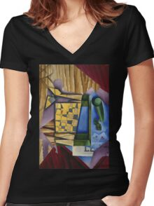 Juan Gris - Backgammon. Abstract painting: abstract art, geometric, expressionism, composition, lines, forms, creative fusion, spot, shape, illusion, fantasy future Women's Fitted V-Neck T-Shirt