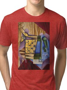 Juan Gris - Backgammon. Abstract painting: abstract art, geometric, expressionism, composition, lines, forms, creative fusion, spot, shape, illusion, fantasy future Tri-blend T-Shirt