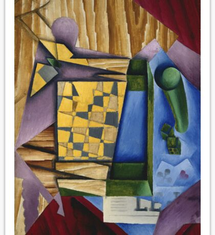 Juan Gris - Backgammon. Abstract painting: abstract art, geometric, expressionism, composition, lines, forms, creative fusion, spot, shape, illusion, fantasy future Sticker