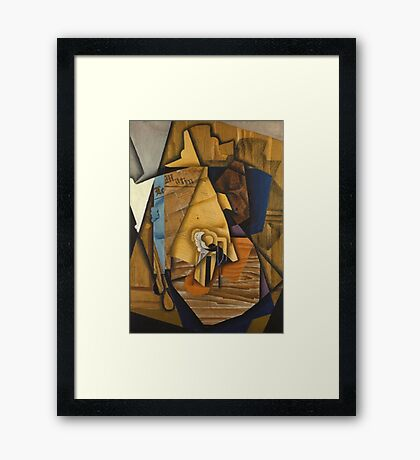 Juan Gris - Man At The Cafe. Abstract painting: abstract art, geometric, expressionism, composition, lines, forms, creative fusion, spot, shape, illusion, fantasy future Framed Print