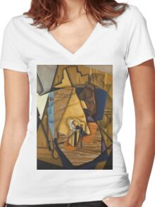 Juan Gris - Man At The Cafe. Abstract painting: abstract art, geometric, expressionism, composition, lines, forms, creative fusion, spot, shape, illusion, fantasy future Women's Fitted V-Neck T-Shirt