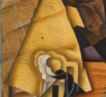 Juan Gris - Man At The Cafe. Abstract painting: abstract art, geometric, expressionism, composition, lines, forms, creative fusion, spot, shape, illusion, fantasy future Sticker