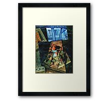 Juan Gris - Still Life Before An Open Window, Place Ravignan. Abstract painting: art, geometric, expressionism, composition, lines, forms, creative fusion, spot, shape, illusion, fantasy future Framed Print